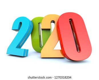 Happy New Year 2020 colorful calendar background 3D render