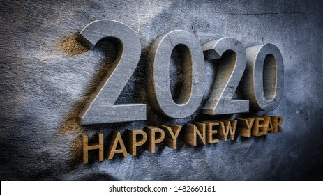 Happy new year 2020 concept in 3d