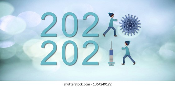 Happy New Year 2021. 2020 - the year of Covid-19, 2021 - the year of vaccination. Back to normal. Greeting card on blue background. Illustration.