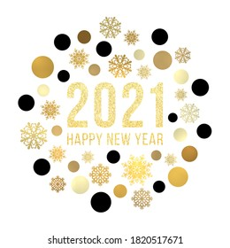 Happy New Year 2021 circle snowflake concept on white background. Gold Christmas greeting card design with golden baubles glitter celebrating text. Winter holiday geometric banner illustration.