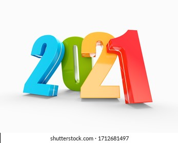 Happy New Year 2021 colorful calendar background series 3D render