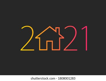 happy new year 2021. 2021 with house