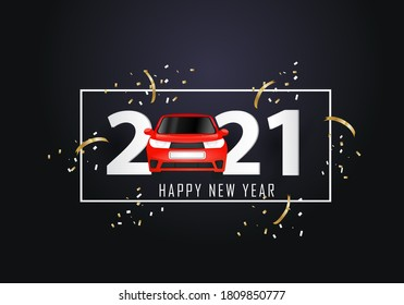 happy new year 2021. Year 2021 with red car