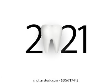 happy new year 2021. 2021 with tooth sign