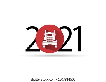happy new year 2021. 2021 with truck icon