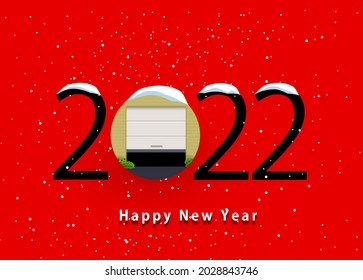 Happy new year 2022. 2022 with garage door icon on isolated background