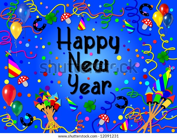 happy new year background blue