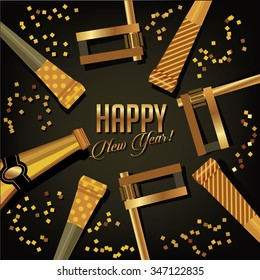 Happy New Year background gold design with champagne, confetti and noisemakers. Royalty free illustration.