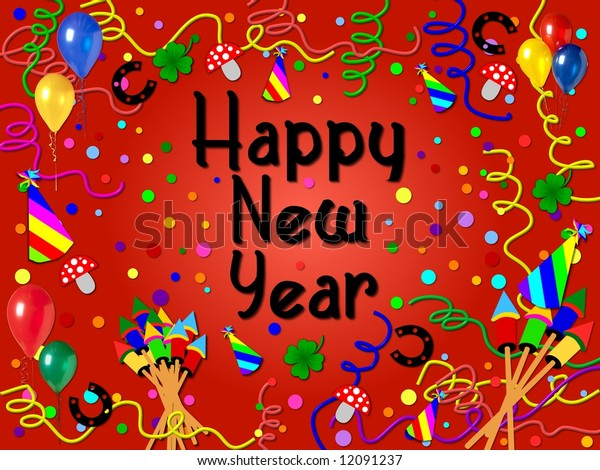 happy new year background red