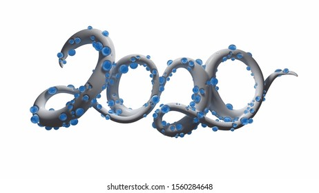 Happy New Year Banner with 2020 Numbers made by sugar white caramel with blue water spheres isolated on white Background. abstract 3d illustration creative lettering