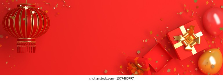 Happy new year banner, gift box, balloon, confetti, red and gold chinese lantern lampion. Design creative concept of chinese festival celebration gong xi fa cai. 3D rendering illustration.
