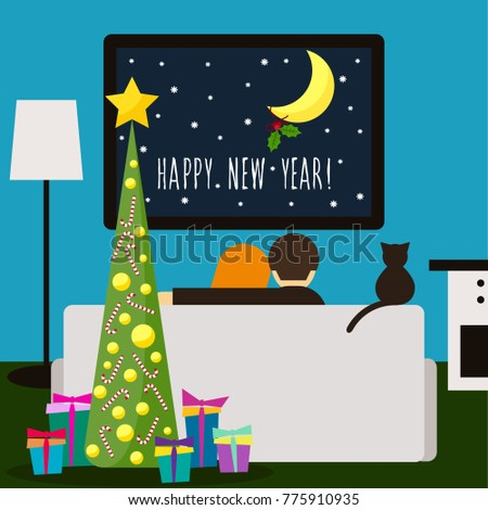 happy new year card couple and cat watching tv handwritten lettering and trendy flat