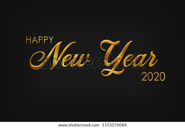 Happy New Year card with greetings, black background