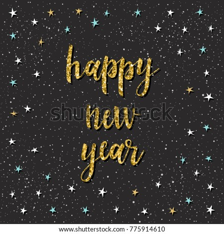 happy new year card handwritten quote and star for design new year card invitation