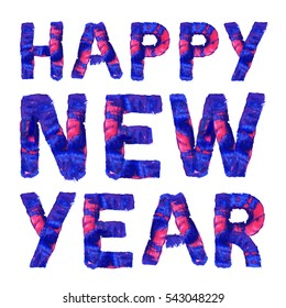 Happy New Year. Colorful hand painted blue text. Oil paint. High resolution.