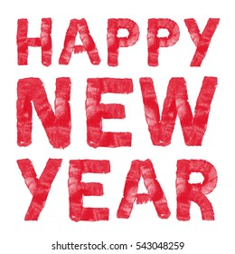 Happy New Year. Colorful hand painted red text. Oil paint. High resolution.