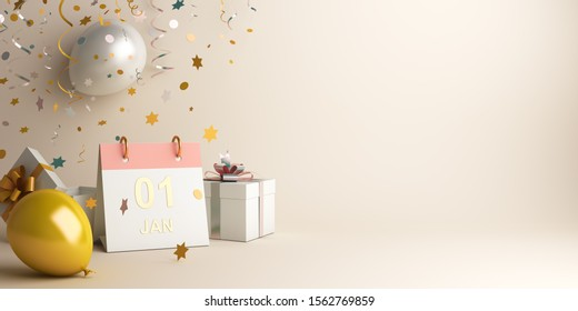 Happy New Year design creative concept, January 1st calendar, gold white balloon, gift box, glittering confetti on gradient background. Copy space text area, 3D rendering illustration.
