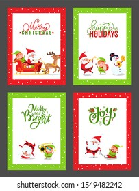 Happy New Year festive cards with cartoon Santa Claus, Elf, Snowman, Deer. raster Christmas characters having fun, listening, playing music, dancing