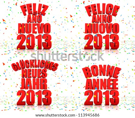 happy new year in four languages spanish italian german and french