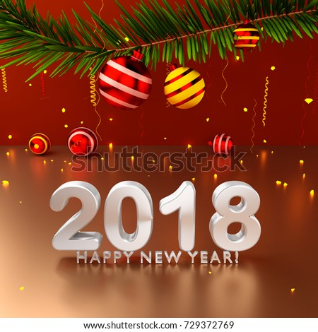 happy new year gift card 3d render