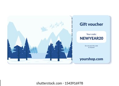 happy new year gift voucher card template design. Outdoor with mountains and snow, background coupon code promotion illustration. Skiing advertising, business coupon for winter sports or travel