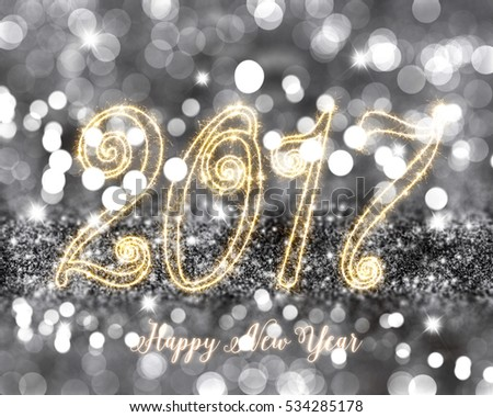 happy new year glitter background with sparkly stars