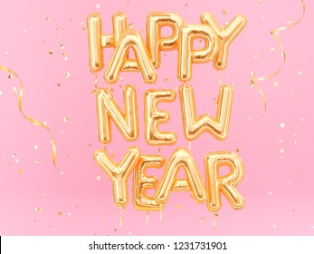 Happy New Year gold text on pink girly background, golden foil balloons typography, 3d rendering
