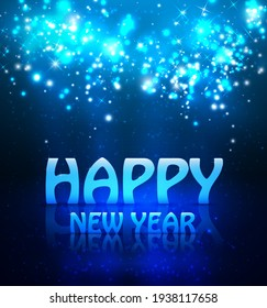 Happy New Year Greeting Background With Shine And Lights, Raster version