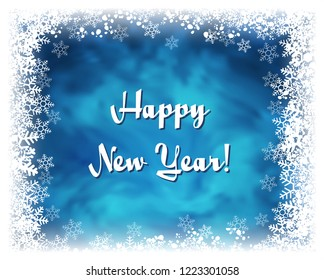 Happy New Year greeting card. Textured blue background with frame of white snowflakes. Frozen window effect. Raster version
