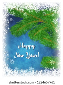 Happy New Year greeting card.Winter illustration with green pine branch on textured blue background with frame of white snowflakes. Frozen window effect. Raster version