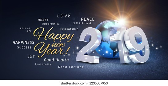 Happy New Year greetings, best wishes and 2019 date number, composed with planet earth blue colored, on a festive black background, with glitters and stars - 3D illustration
