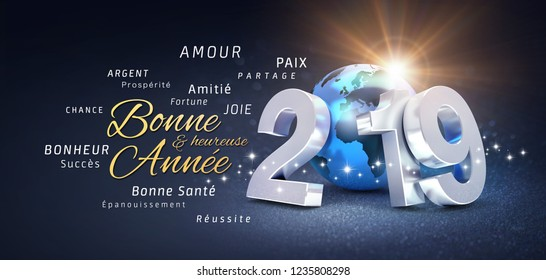 Happy New Year greetings, best wishes in French language and 2019 date number, composed with planet earth blue colored, on a festive black background, with glitters and stars - 3D illustration