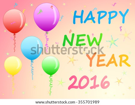 happy new year greetings with colorful balloons on sweet pink and cream background illustration