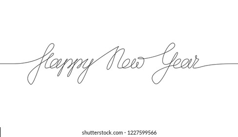 HAPPY NEW YEAR handwritten inscription. Hand drawn lettering. One line drawing of phrase.