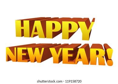 Happy new year illustration isolated on white