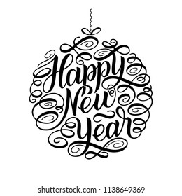 Happy New Year, lettering Greeting Card design circle text frame. illustration. Christmas tree toy ball