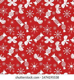 Happy new year and Merry Christmas seamless pattern. White flat illustration on red background.
