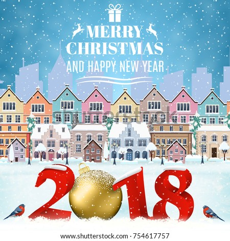 46a52943f5d9 happy new year and merry Christmas winter old town street with christmas  tree. concept for