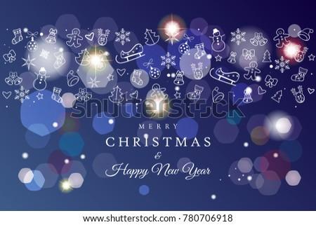 happy new year and merry christmas winter holiday greeting card invitation blank page