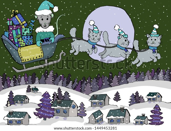 Happy New Year Merry Christmas Rat Stock Illustration 1449453281