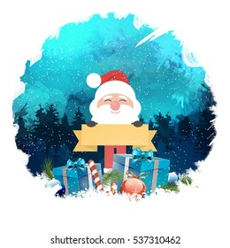 Happy new year with Santa, digital background Greeting Card.
