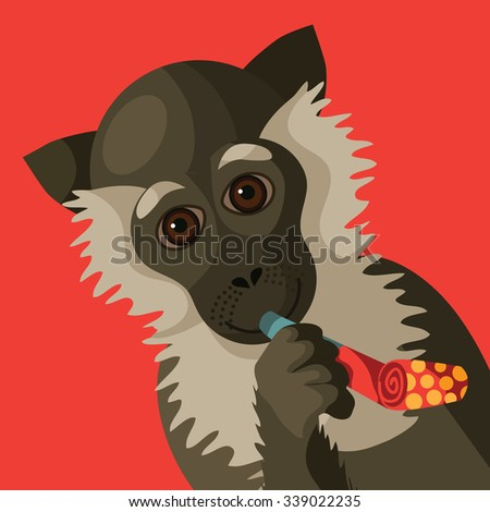 happy new year smiling cartoon monkey holding festive party blower royalty free illustration