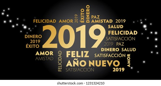 "Happy New Year Spanish Language greeting card with spanish slogan ""feliz año nuevo"" and good wishes for the new year. Black background and golden text"