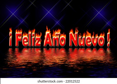 happy new year spanish letters in fire flooding water on black background