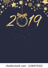 Happy New Year. Stars with big retro clock in golden colors.