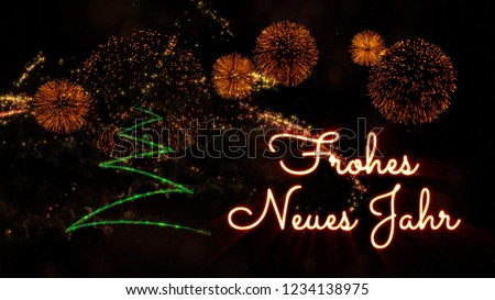 Happy New Year Text In German U0027Frohes Neues Jahru0027 Over Pine Tree With  Sparkling