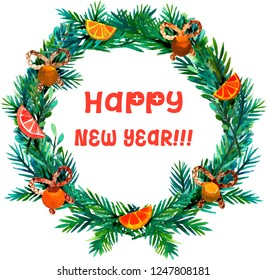 Happy New Year text in a hand drawn watercolor wreath.