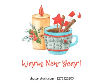 Happy New year. The warm New year 2019 card. Watercolor illustration. A burning candle, fir branches, holly, knitted cup of tea, cinnamon and lollipop.
