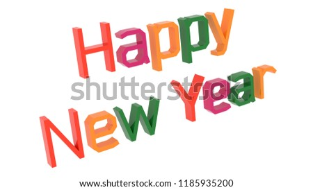 happy new year words 3d rendered congratulation text with square old style font illustration colored