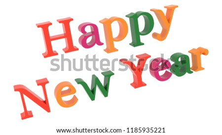 Happy New Year Words 3 D Rendered Stock Illustration 1185935221 ...